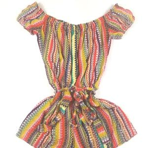 Forever21 Multicolor Off Shoulder Romper Shorts